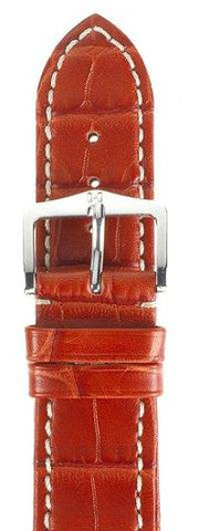 Hirsch Strap Viscount Alligator Matt Red  Large 18mm
