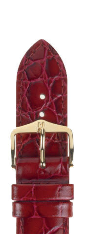 Hirsch Strap Crocograin Burgundy Medium 18mm