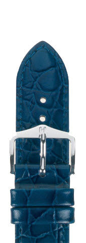 Hirsch Strap Crocograin Blue Medium 14mm