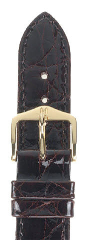 Hirsch Strap Genuine Croco Brown Large 19mm