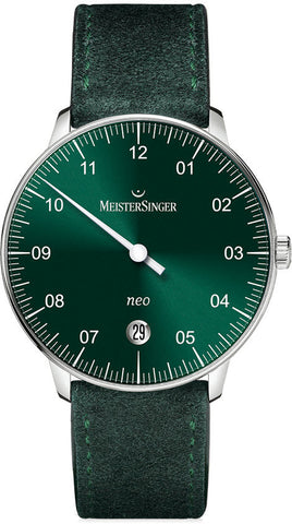 MeisterSinger Watch Neo Suede Sunburst Green
