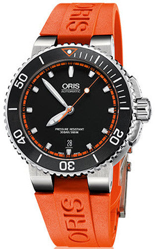 Oris Watch Aquis Date Rubber Orange