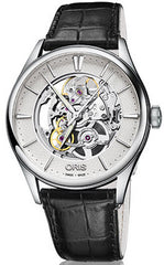 Oris Watch Artelier Skeleton Black Leather