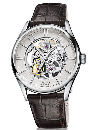 Oris Watch Artelier Skeleton Brown Leather