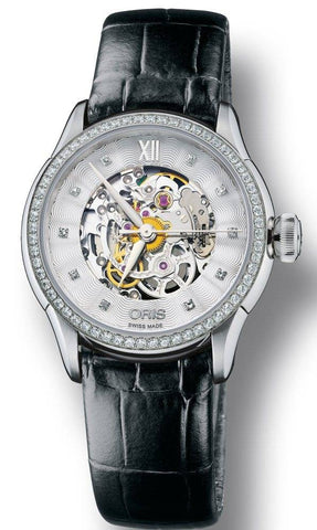 Oris Watch Artelier Lady Skeleton Diamond Leather D