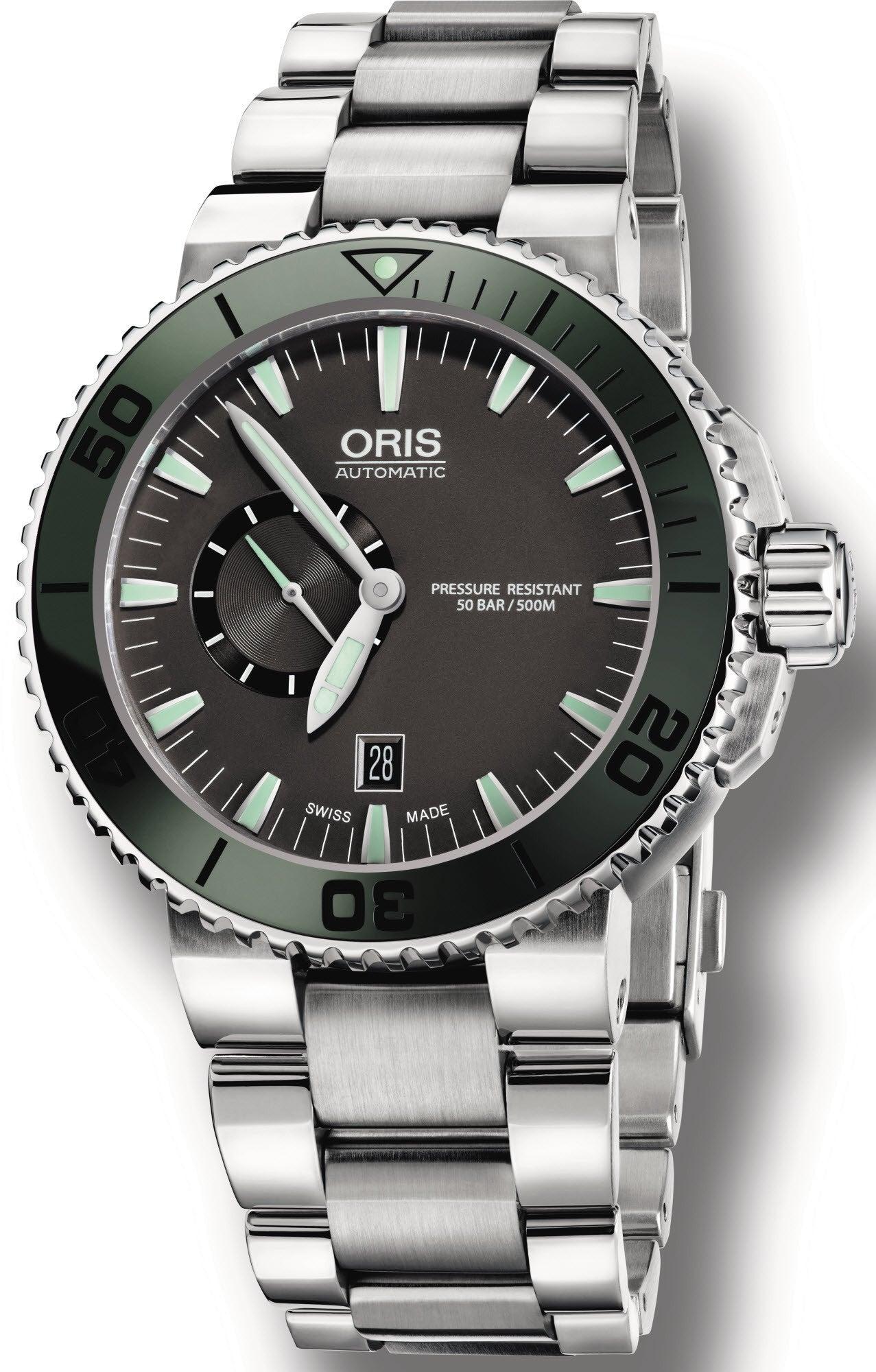 Oris Watch Aquis Date Small Second Dark Green Bracelet D