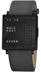 QLOCKTWO Watch W35 Fine Black Steel Leather