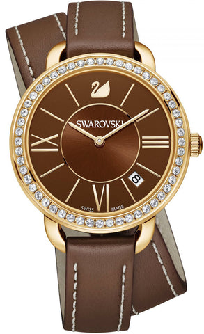 Swarovski Watch Aila Day Double Tour Brown/Light Gold Tone