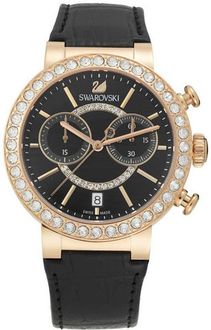 Swarovski Watch Citra Sphere Chrono Black Rose Gold Tone
