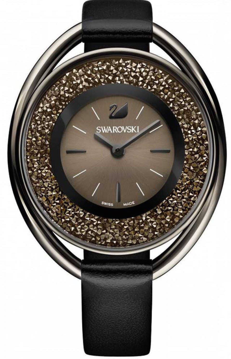 Swarovski Watch Crystalline Oval Black Tone