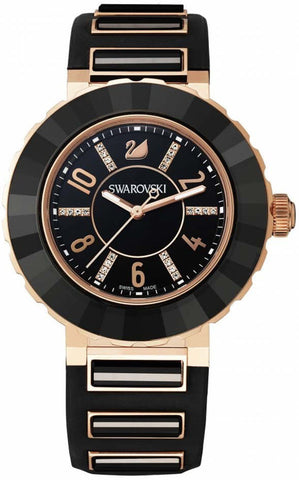Swarovski Watch New Octea Sport Black Rose Gold Tone