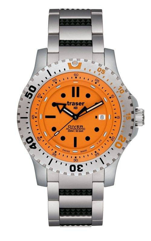 Traser H3 Watch Diver Automatic Orange Bracelet