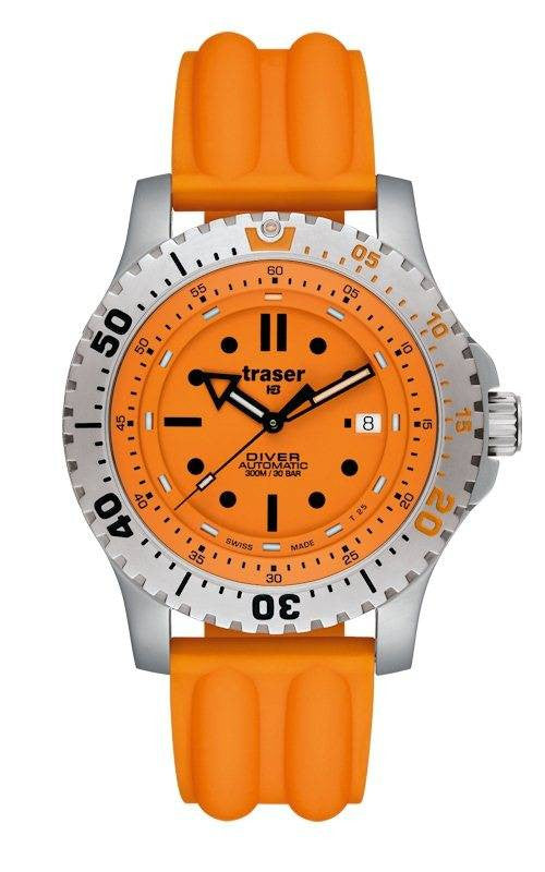 Traser H3 Watch Diver Automatic Orange Silicon