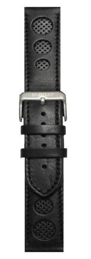 U-Boat 50mm or 55mm Leather Black Steel Regular