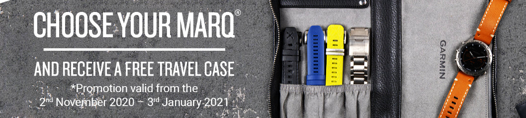 Choose your MARQ and receive a free travel case. * Promotion valid from the 2nd November 2020 to 3rd January 2021