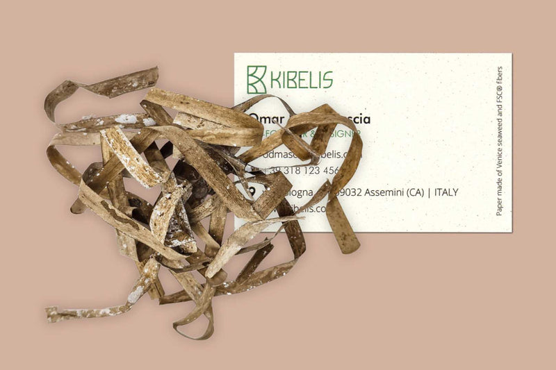 Kibelis uses FSC Venice Seaweed paper for its products