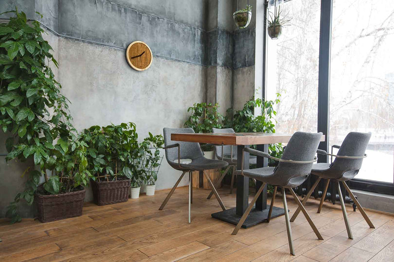 design sustainable wall clock in a green restaurant
