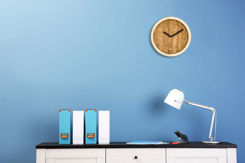 Eora design clock in a minimal office (cork and ash wood)