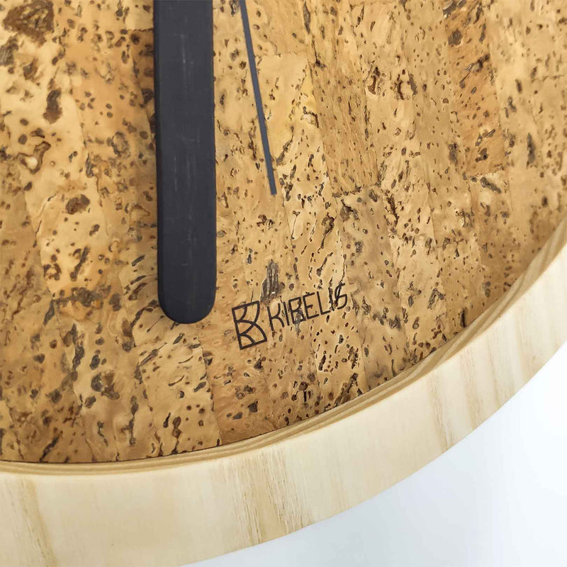Kibelis EORA | Sustainable Design Wall Clock | Made in Italy ecofriendly wood and cork - Detail Logo