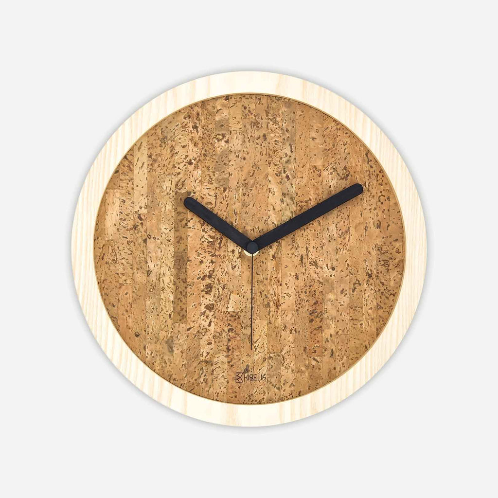 Kibelis EORA | Sustainable Design Wall Clock | Made in Italy ecofriendly ash wood and cork - Front