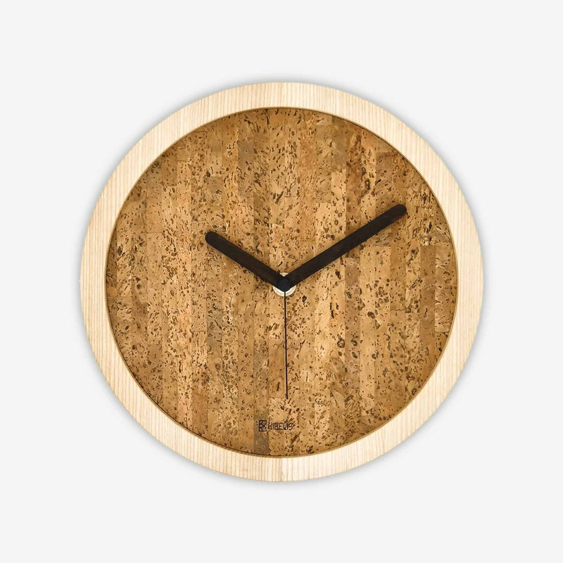 Kibelis Eora | Sustainable Design Wall Clock | Made in Italy ecofriendly ash wood and cork - Black Colour Clock Hands