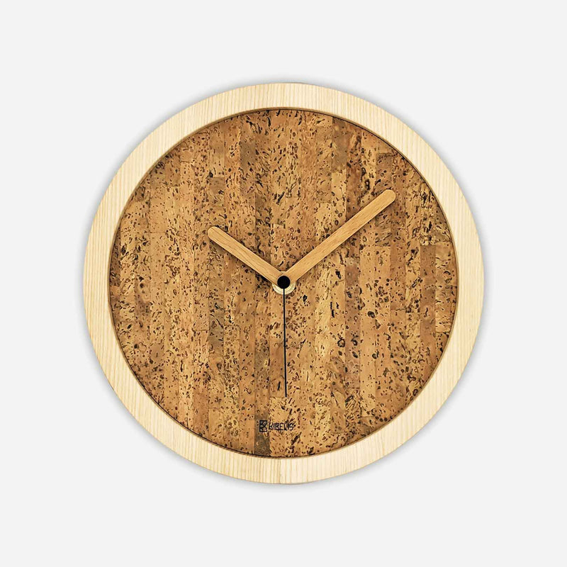 Kibelis Eora | Sustainable Design Wall Clock | Made in Italy ecofriendly ash wood and cork - Light Colour Clock Hands