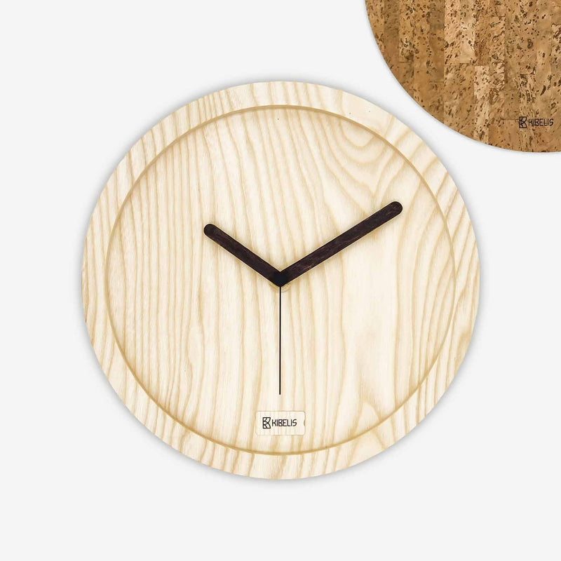 Kibelis Eora | Sustainable Design Wall Clock | Made in Italy ecofriendly ash wood