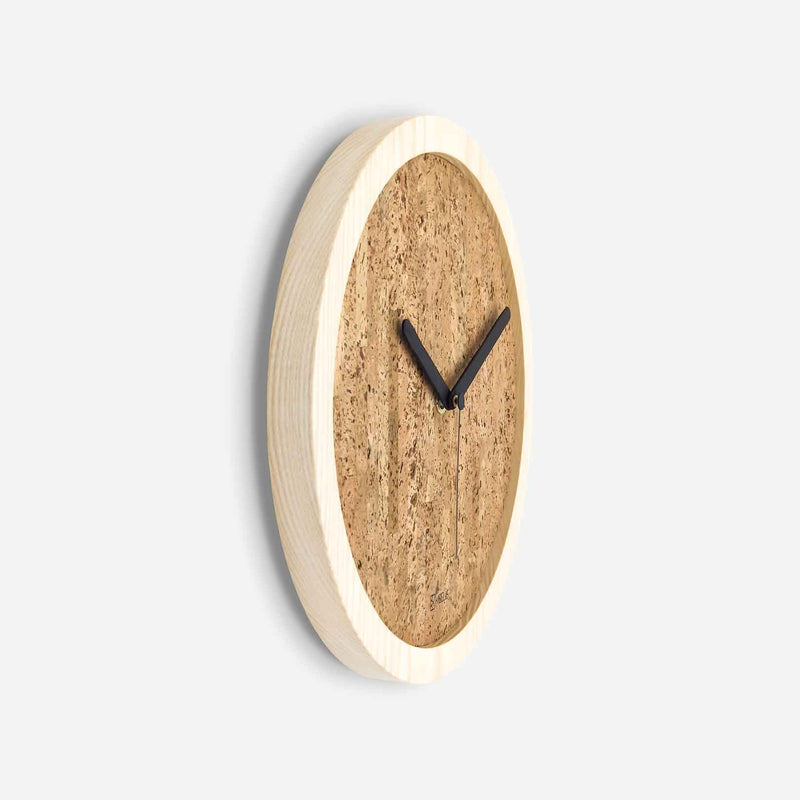 Kibelis EORA | Sustainable Design Wall Clock | Made in Italy ecofriendly ash wood and cork - Side