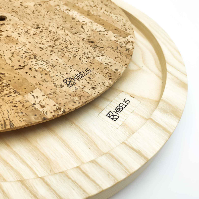 Kibelis EORA | Sustainable Design Wall Clock | Made in Italy ecofriendly wood and cork - Components and dial details