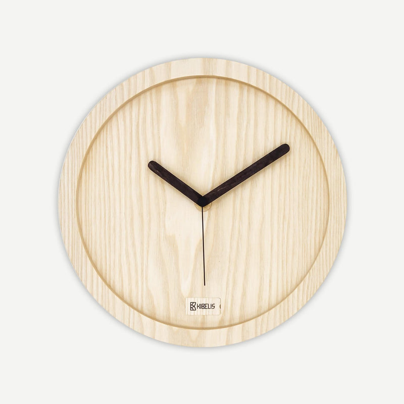 Kibelis Eora | Sustainable Design Wall Clock | Made in Italy ecofriendly ash wood - Front
