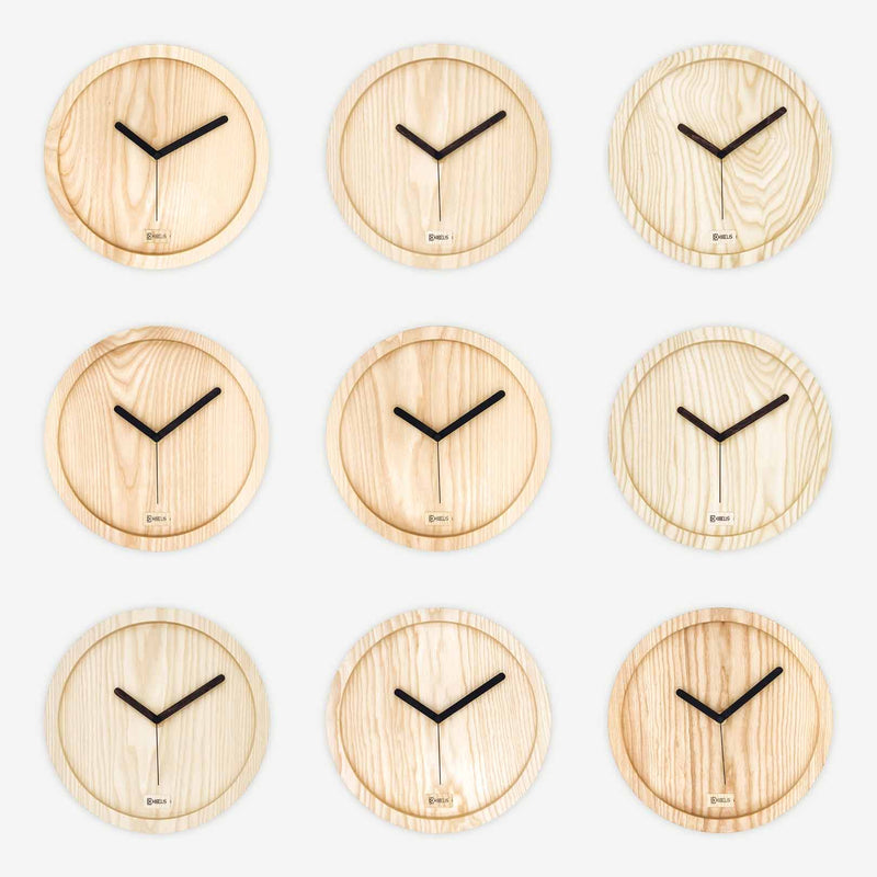 Kibelis Eora | Sustainable Design Wall Clock | Made in Italy ecofriendly ash wood - 9 Clocks with unique textures