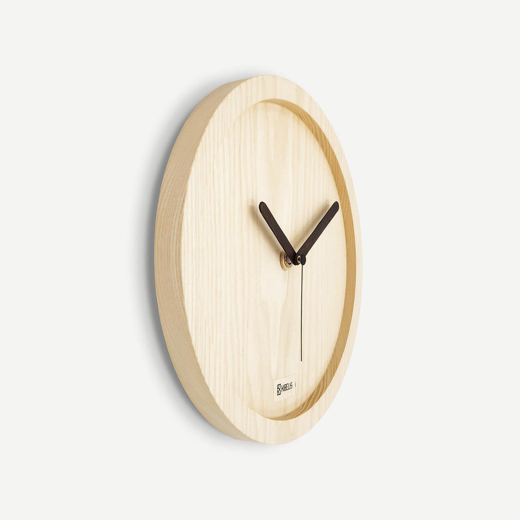 Kibelis Eora | Sustainable Design Wall Clock | Made in Italy ecofriendly ash wood - Side