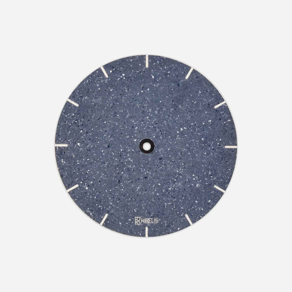 Kibelis Eora's new clock dial is made of Cotton Blue Really, ecofriendly blue material made of upcycled fabric | Front