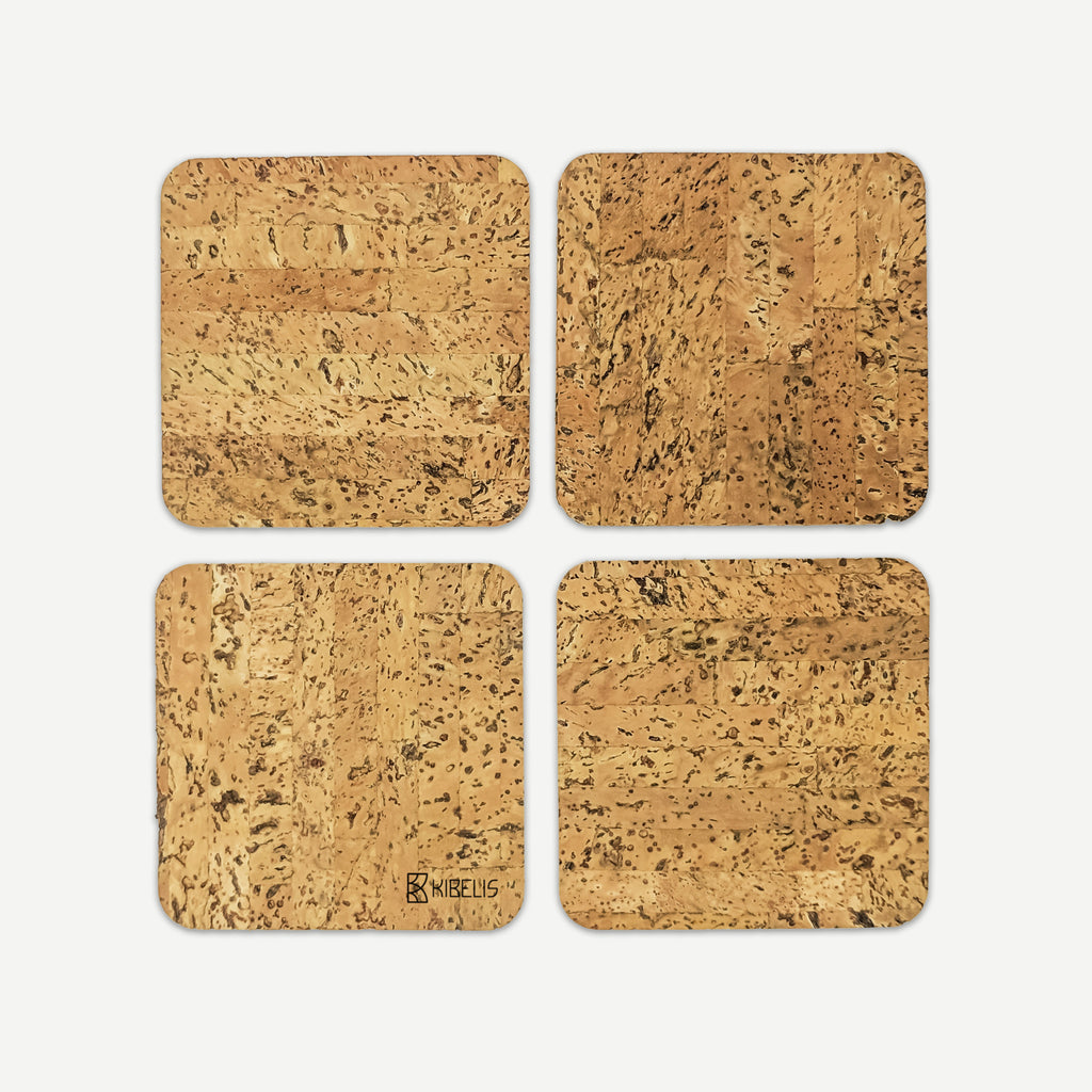 Kibelis Garrulus Coasters | Ecofriendly Design Cork Coasters | Made in Italy 4 pieces Set