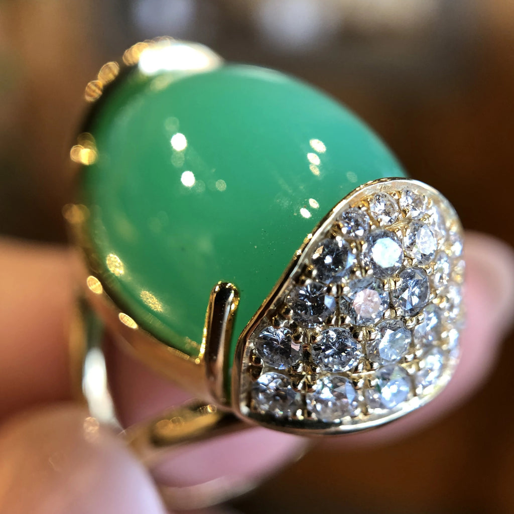 Baby Armadillo™ Chrysoprase Ring + Diamonds