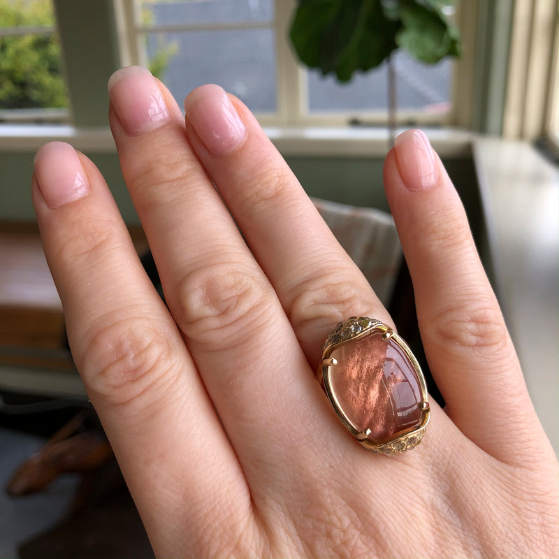 Baby Armadillo™ Sunstone Ring + Rustic Diamonds