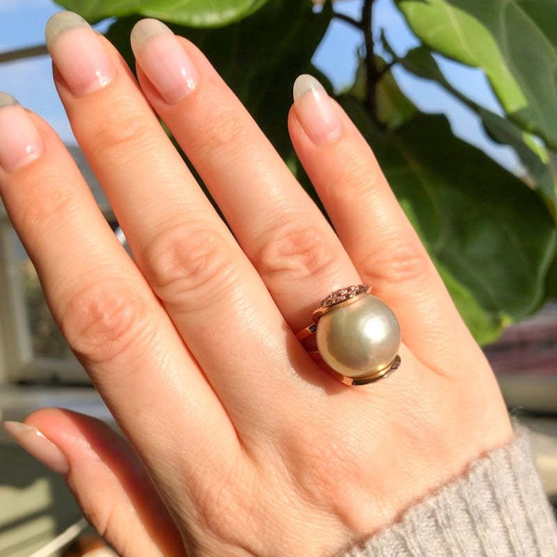 Baby Armadillo™ Peach Pearl + Lavender Sapphire Ring