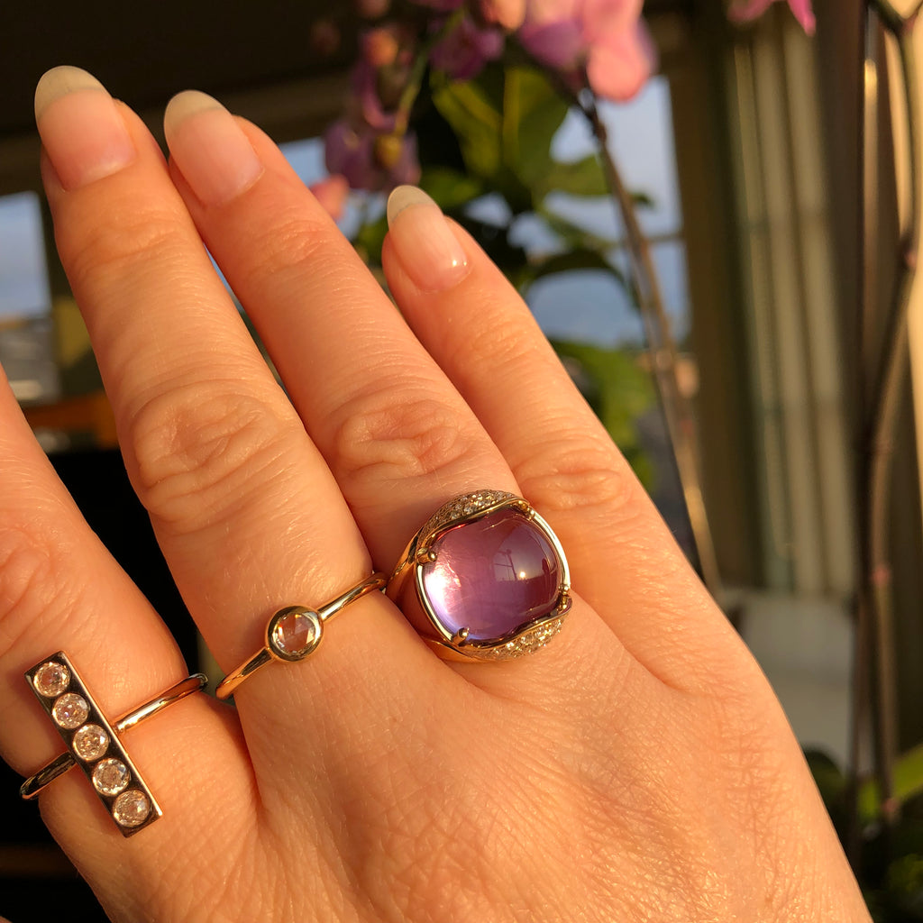 Baby Armadillo™ Amethyst Ring + Diamonds