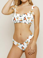 White Bikini Set Cherry Print Button Placket Front