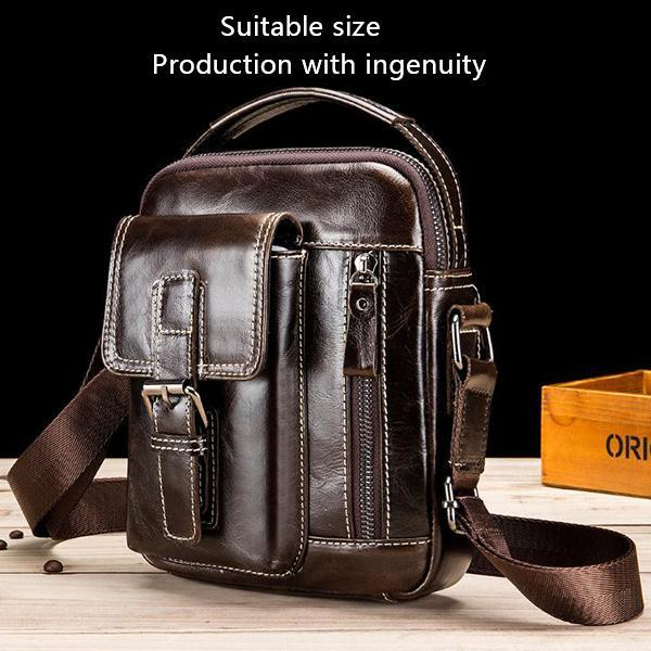 Men's full grain leather shoulder bag messenger bag 8 inch ipadmini casual bag