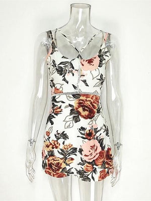 White Floral Print Cross Strap Front Open Back Cami Mini Dress