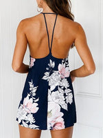 Dark Blue Halter Floral Print Open Back Mini Dress