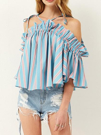 Light Blue Stripe Off Shoulder Ruffle Trim Chic Women Cami Blouse