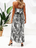 Black Chiffon Bandeau Leaf Print Ruffle Trim Chic Women Maxi Dress