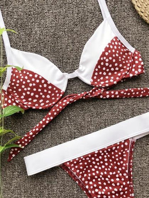 Red Bikini Set Contrast Polka Dot Print Tie Back