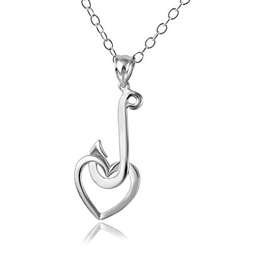 "Hawaiian Fish Hook with Heart Pendant Necklace, 18"" Chain Jewelry Sterling Silver"