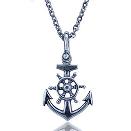Anchor and Ships Wheel Nautical Pendant Crafted in Sterling Silver on an 18 Inch Link Necklace Chain