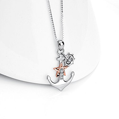 Two-Tone Ship Anchor Rudder Pendant Necklace Jewelry for Women