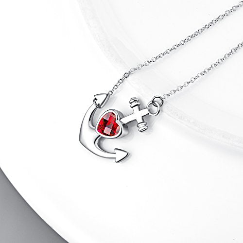 Anchor Jewelry Gift for Women 925 Sterling Silver Sideways Ship Anchor Pendant Necklace 18""