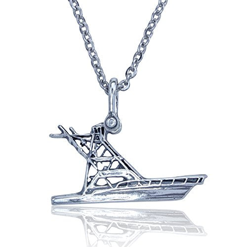 "Offshore Sport Fishing Boat Pendant Crafted in Sterling Silver with a 22"" Necklace Chain"